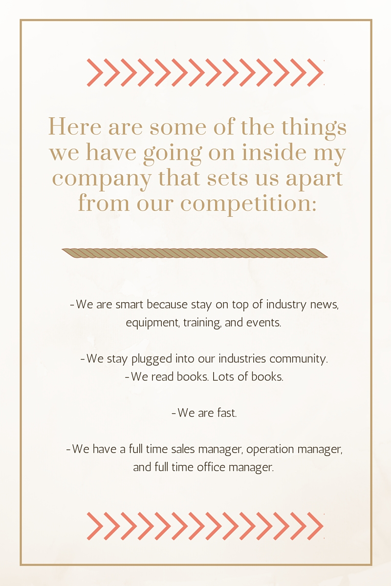Lets talk about some of the things we have going on inside my company that sets us apart from our competition!